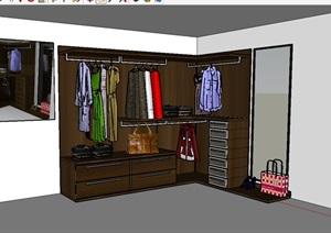 某室内衣柜柜子设计SU(草图大师)模型