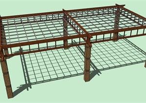 木质花架SU(草图大师)模型