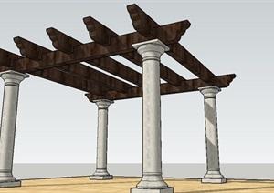 欧式木廊架SU(草图大师)模型