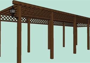 防腐木双排廊架SU(草图大师)模型