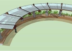 精制带景观弧形廊架SU(草图大师)模型