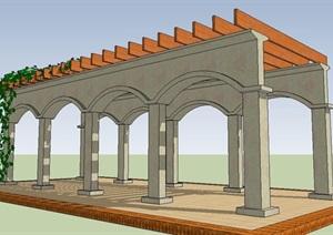 欧式拱门形廊架SU(草图大师)模型