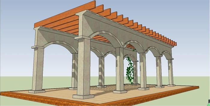欧式拱门形廊架su模型[原创]
