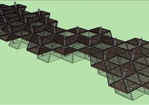 蜂巢形木廊架SU(草图大师)模型