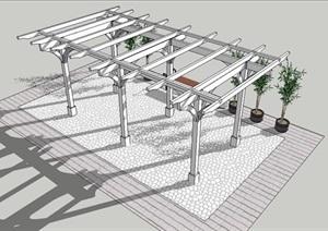 白色木廊架SU(草图大师)模型