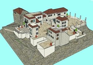 某欧式城堡式住宅建筑SU(草图大师)模型-设计素材下载
