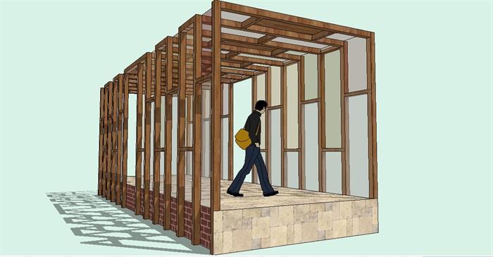 彩色玻璃造型木廊架su模型[原创]
