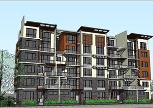 多层住宅完整建筑设计SU(草图大师)模型