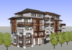 新古典多层住宅楼SU(草图大师)模型