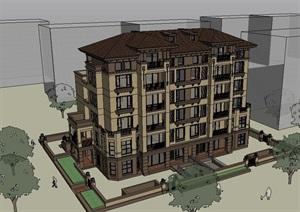 欧式多层小区住宅楼设计SU(草图大师)模型