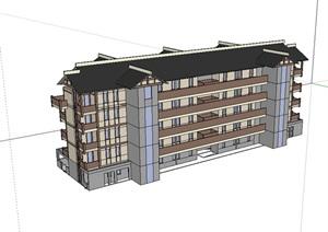 多层住宅欧式小区楼SU(草图大师)模型