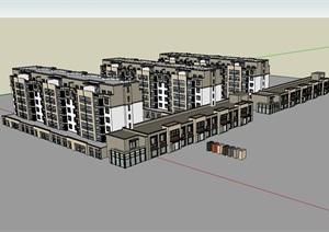 多层小区住宅建筑SU(草图大师)模型