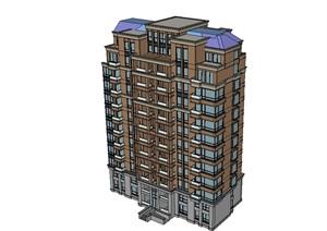 某小区多层住宅建筑楼SU(草图大师)模型
