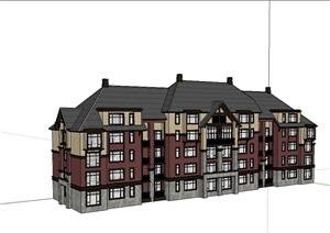 欧式风格多层住宅小区楼SU(草图大师)模型