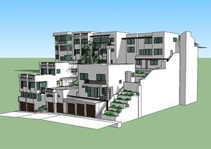 多层山地住宅SU(草图大师)模型