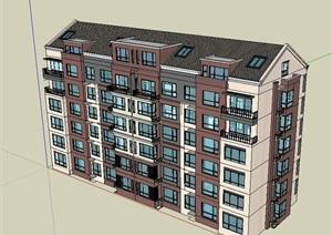 某小区多层住宅楼SU(草图大师)模型