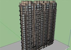 某现代风格高层住宅楼SU(草图大师)模型
