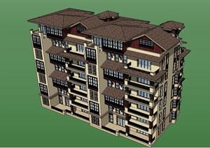 多层新古典风格住宅楼SU(草图大师)模型