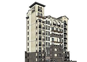 西班牙多层住宅楼SU(草图大师)模型