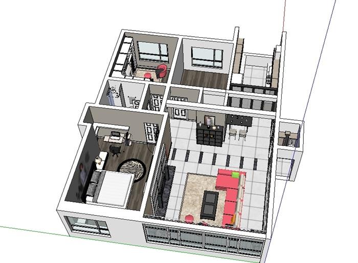 北欧风格家装室内设计su模型[原创]