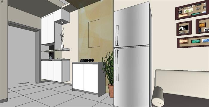 某住宅室内装饰空间设计su模型[原创]