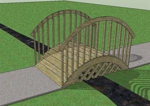 中式防腐木拱桥设计SU(草图大师)模型-设计素材下载