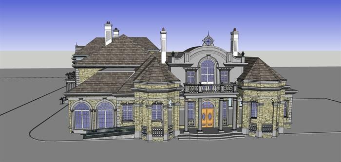 精品法式别墅SU模型+CAD+及高清效果图(1)