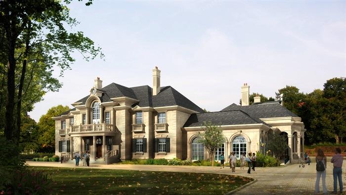 精品法式别墅SU模型+CAD+及高清效果图(2)