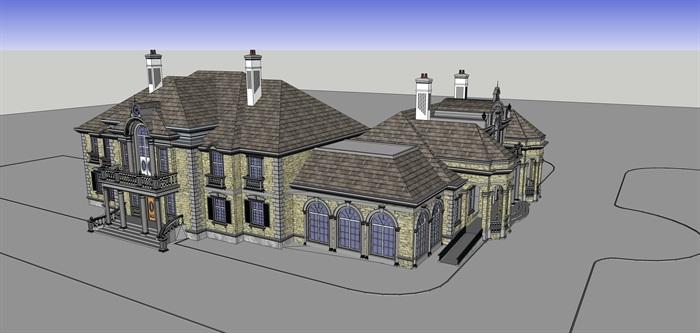 精品法式别墅SU模型+CAD+及高清效果图(4)
