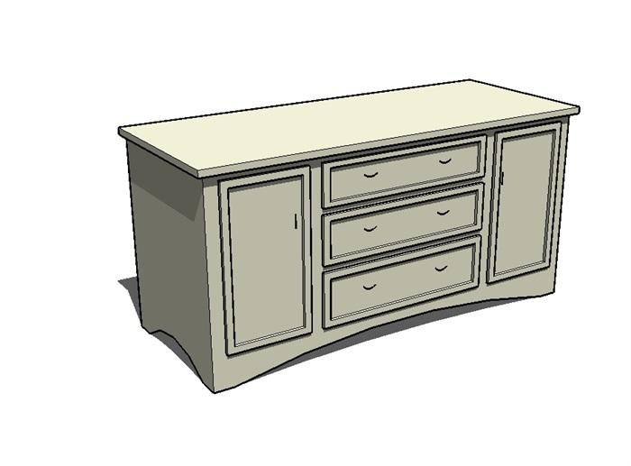 有材质无贴图的柜子设计su模型[原创]