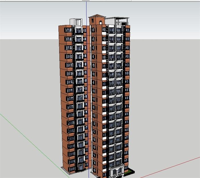 欧式住宅小区高层楼设计su模型[原创]
