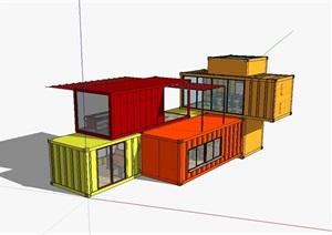 两层集装箱办公建筑SU(草图大师)模型