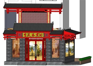 酒楼中式门头设计SU(草图大师)模型