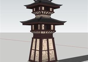 景观塔楼设计SU(草图大师)模型