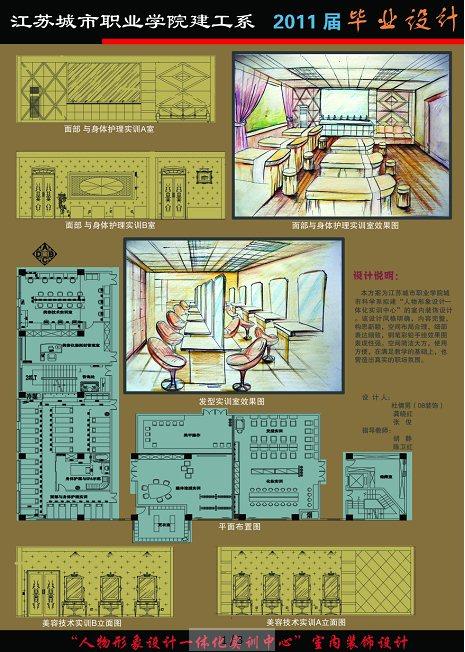现代风格培训中心室内设计毕业展板排版psd源文件