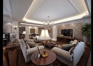 某欧式住宅室内空间客厅设计3d模型含效果图