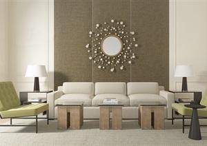 简约现代客厅空间设计3d模型