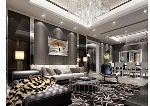 现代室内客厅详细3dmax场景模型
