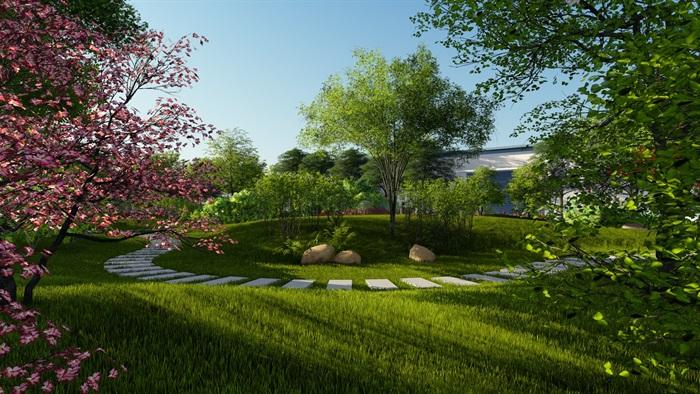 厂区景观设计su模型及效果图