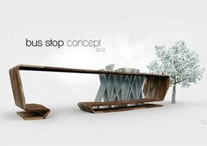 精品公交候车站设计SU(草图大师)模型及效果图