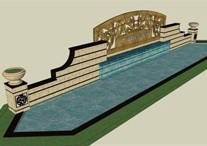 入口泉水景墙设计SU(草图大师)模型