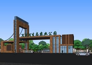 精品现代生态农业景观大门SU(草图大师)模型