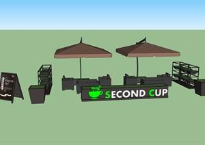 商业外摆伞桌椅素材设计SU(草图大师)模型