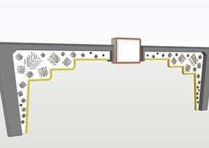 跨街门楼SU(草图大师)模型