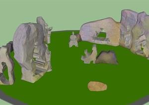 山顶雕塑景石设计SU(草图大师)模型