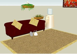 现代风格沙发、地毯及盆栽SU(草图大师)模型