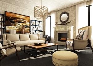 简约室内客厅3dmax场景模型