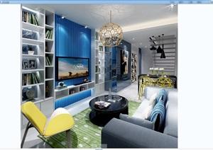现代住宅客厅空间3dmax场景模型