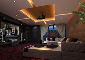 现代住宅室内客厅空间3d模型