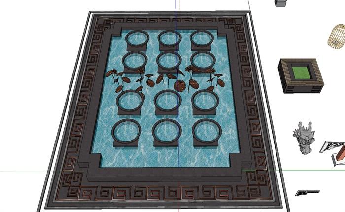 现代中式小品多个摆件设计su模型
